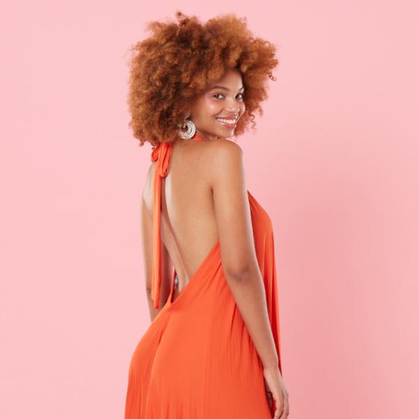 Invisibra orange maxi dress square