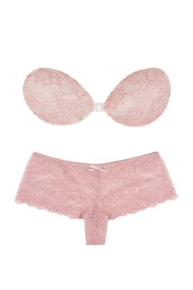 Pink strapless backless bra and matching underwear