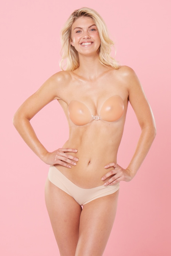 ava backless stick on push up bra in nude