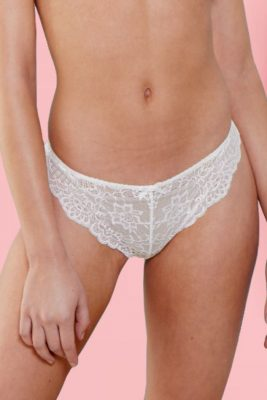 Seamless Thong With Ivory Lace <br> L.O.V.E.