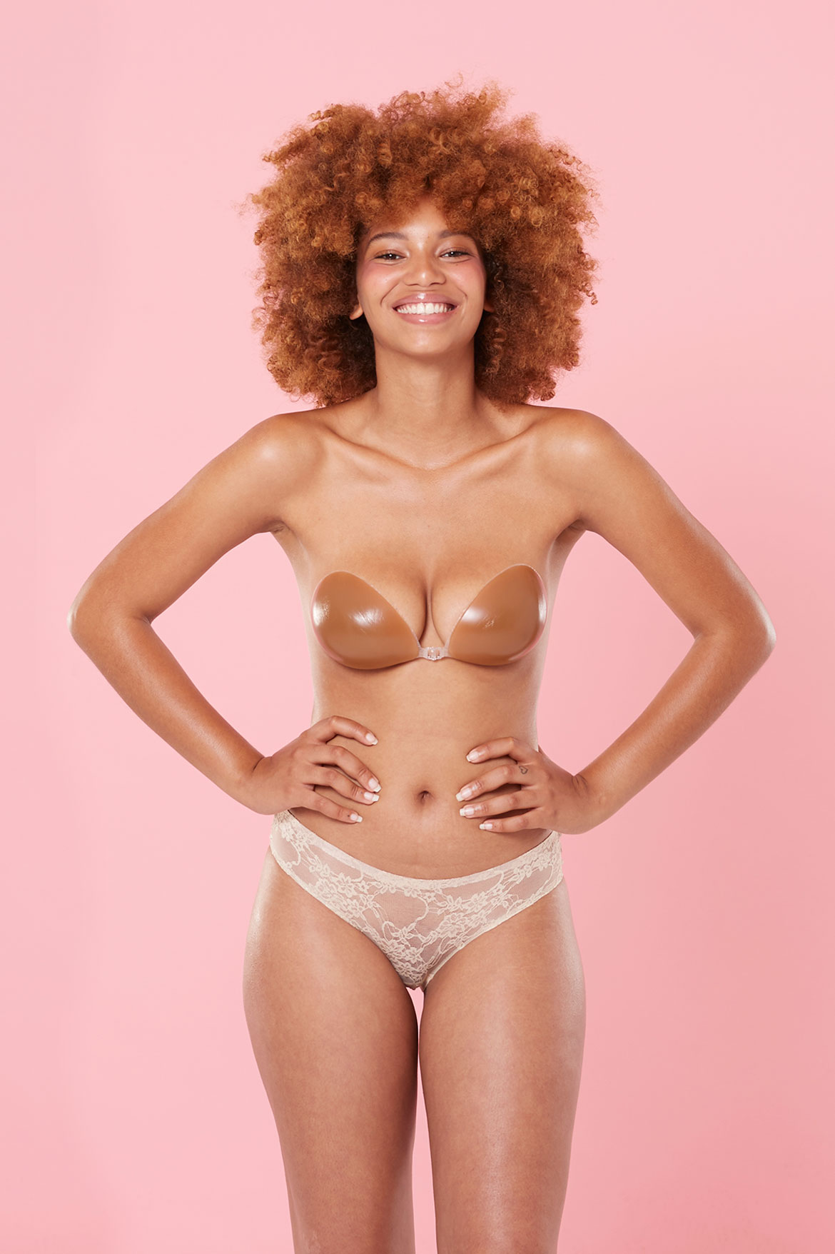 stick on nude backless brown bra