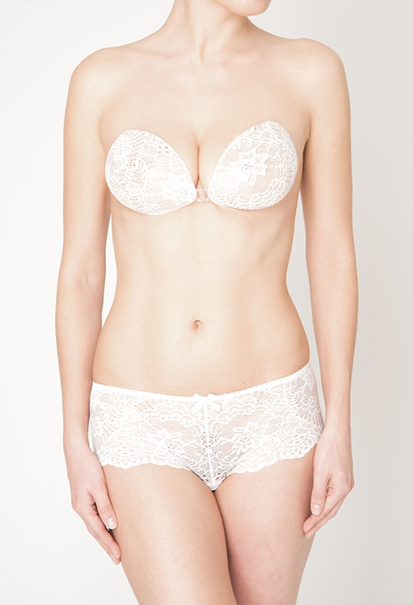 189454bbaceef avery push up bra is a white ivory backless strapless floral lace push up  bra that