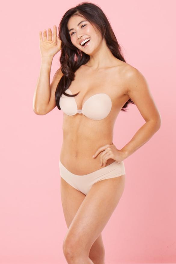 nude backless stick on bra in beige