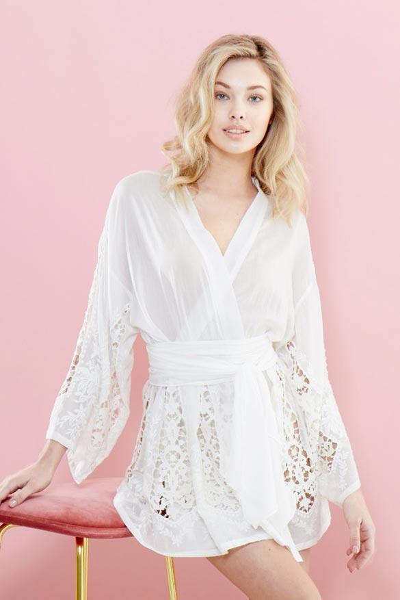 Iona Silk/Cotton Kimono - White