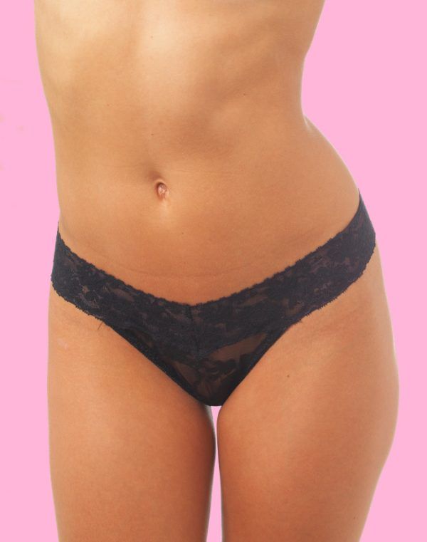 50% Off Black Lace Thong <br> Blackberry - M